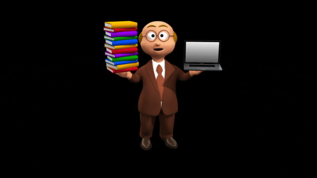Senior Business Character Compares Books With Computer video