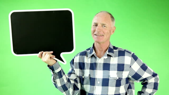 Senior casual caucasian man isolated green screen video