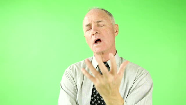Senior caucasian business man green screen video