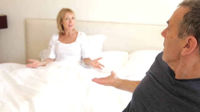 Senior Couple Arguing In Bedroom video