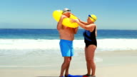 Senior couple at the beach video
