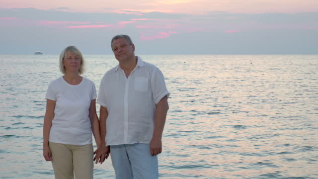 Senior couple by sea looking to the camera video