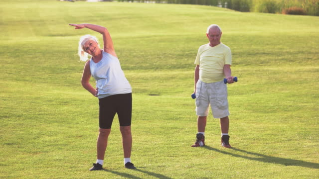 Senior couple does exercises. video
