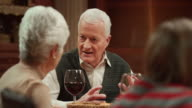 Senior couple having a conversation at the Thanksgiving table video