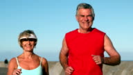 Senior couple jogging on a sunny day video