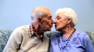 Senior couple kissing video
