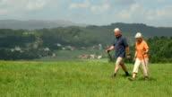 HD DOLLY: Senior Couple Nordic Walking Across Hill video