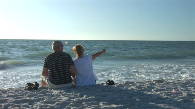 Senior couple on beach video