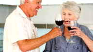 Senior couple preparing a healthy salad while drinking red wine video
