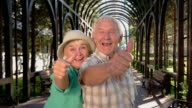 Senior couple showing thumbs up. video
