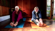 Senior couple stretch after exercise together video