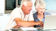 Senior couple using laptop to pay their bills video