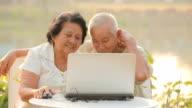 Senior couple using laptop video