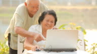Senior couple using laptop video