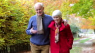 Senior Couple Walking Along Autumn Path video