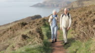 Senior Couple Walking Along Coastal Path video