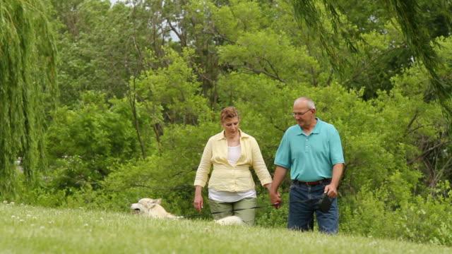Senior couple walking dog through the park, closer shot video