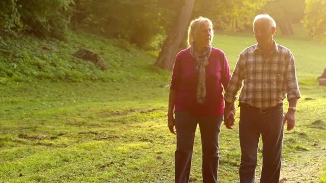 Senior couple walking in park video