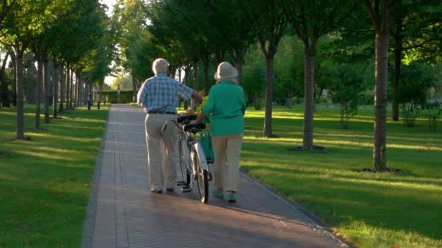 Senior couple walking with bike. video