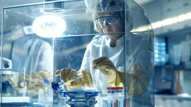 Senior Female Scientist Works with Samples in Isolation Glove Box. She's in a Modern Laboratory Equipped with State of the Art Technology. video