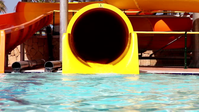 Senior Have Fun On Water Slide video