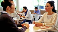 Senior Japanese Women Relaxing in a Cafe video