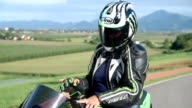Senior lady riding her motorcycle video
