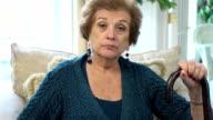 Senior Latin Woman with Cane video
