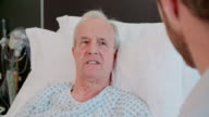 Senior Male Patient And Doctor Talking In Hospital Room video