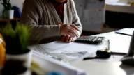 Senior man accountant using calculator video