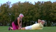 Senior man doing physical exercise. video