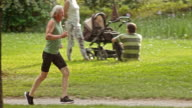 SLO MO TS Senior man jogging in the park video