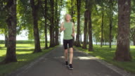 SLO MO TS Senior man jogging through tree avenue video