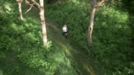 AERIAL Senior man on his run across a forest clearing video