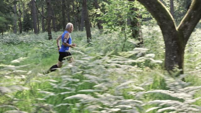 SLO MO DS Senior man running a forest trail marathon video