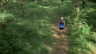 AERIAL Senior man running in the forest on a sunny day video