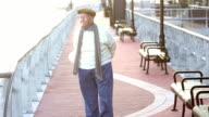 Senior man taking a walk on a city waterfront video