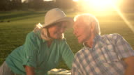 Senior man talking to woman. video
