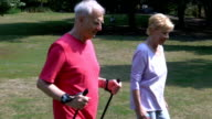 Senior man with hiking poles walking by woman in park video