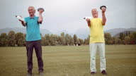 DS Senior men doing hand weight exercises in park video