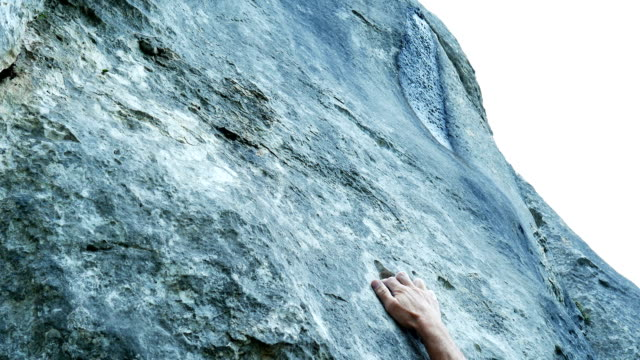 Senior Rock Climber Searching For Hold (4K/UHD to HD) video