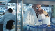 Senior scientist is sitting at the table in a laboratory and working with tube samples. video