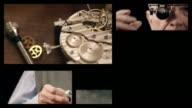 Senior watchmaker assembling watch (Splitscreen) video