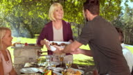 DS Senior woman bringing food from the grill to the table video