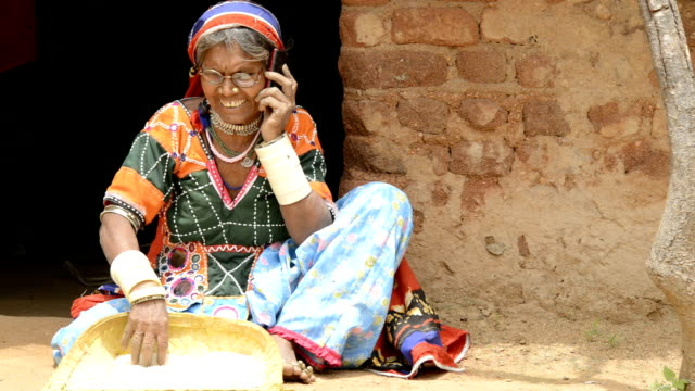 Senior woman talking on mobile phone video