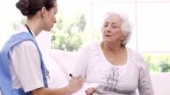 Senior woman talking to nurse video