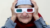 Senior woman with 3d glasses video