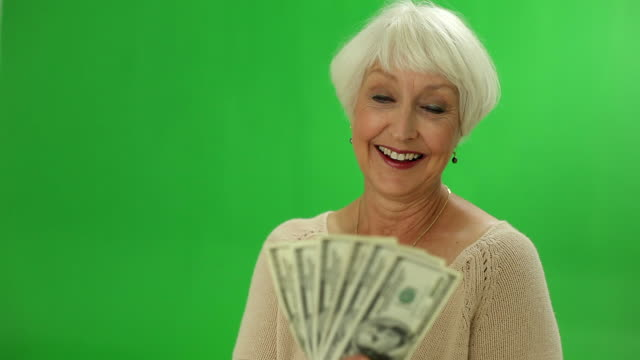 Senior woman with money video