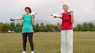DS Senior women doing hand weight exercises in park video