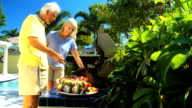Seniors Grilling Barbeque Food video